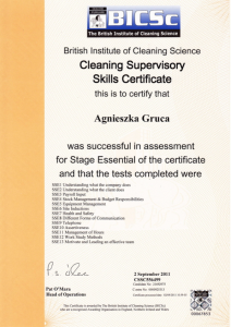 congrats to agnieszka gruca on achieving cleaning supervisory skills