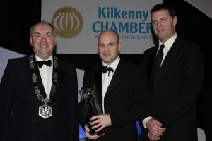Jamie McHardy, Munster & Leinster Cleaning Services MLCS Ltd is presented with the Kilkenny Chamber of Commerce Service Provider Award by John Purcell, CEO KCLR96FM and Donie Butler, President, Kilkenny Chamber of Commerce at the Chamber of Commerce Awards in Lyrath Estate Hotel.