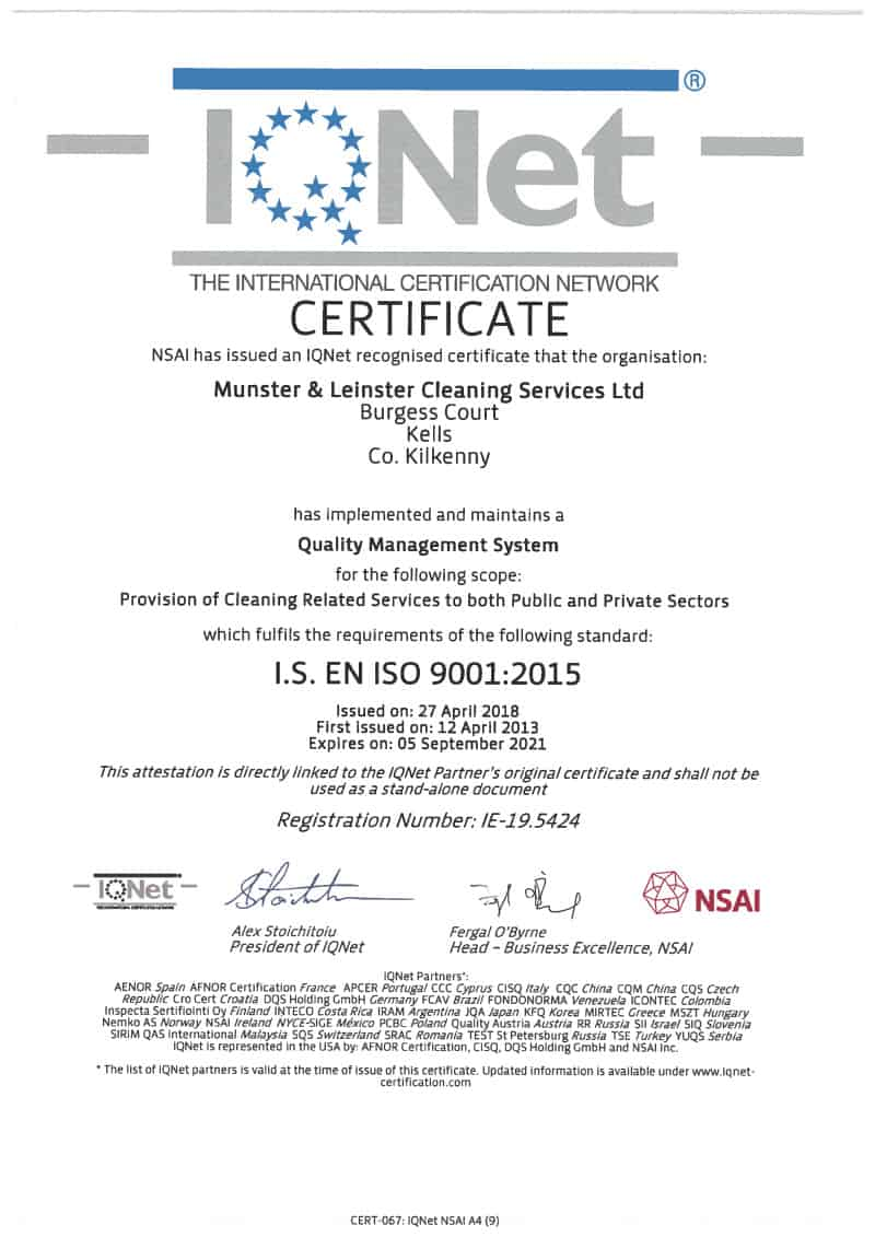 NSAI-MLCS is EN ISO 9001:2015 Quality certified by NSAI